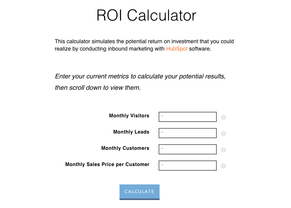 Marketing ROI calculator